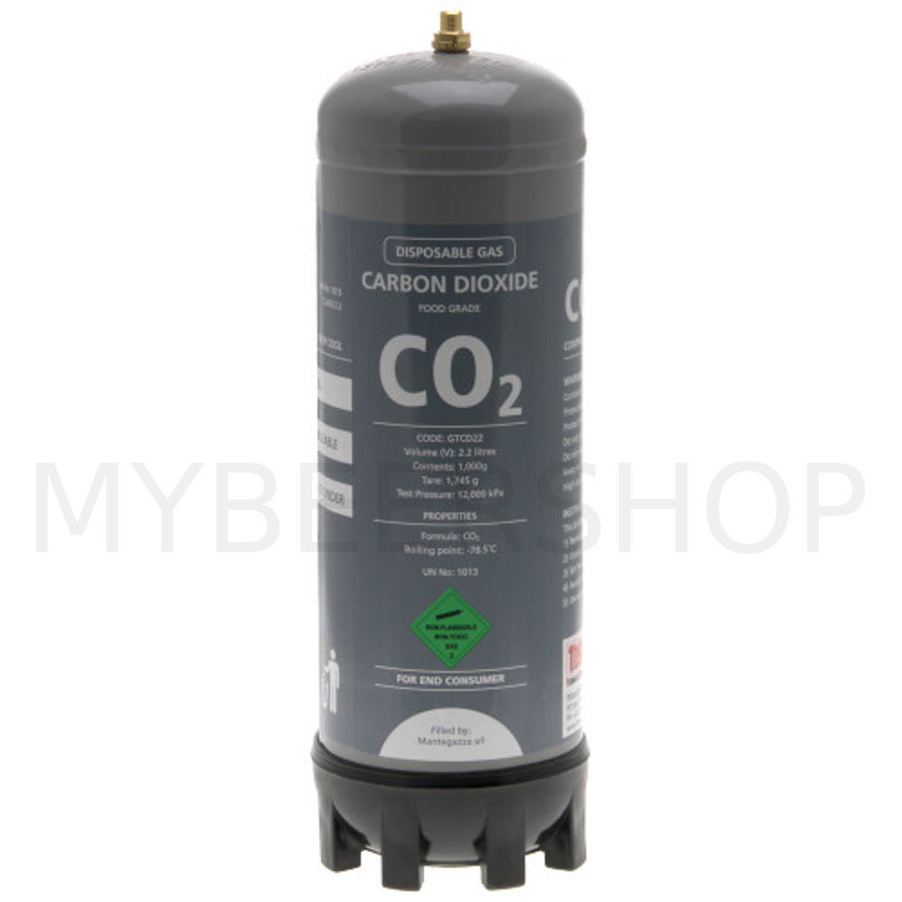 DISPOSABLE 2.2L FOOD GRADE CARBON DIOXIDE CO2 GAS BOTTLE
